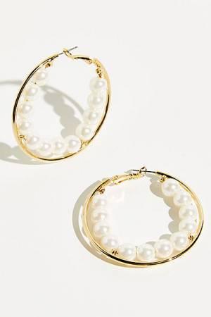 """Free People Hoop Earrings """"Scarlett Pearls"""""""