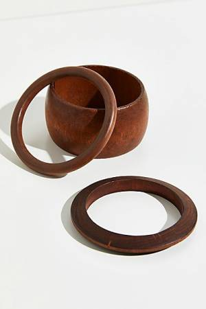 "Free People Wooden Bangle Bracelet Set ""Margate"""