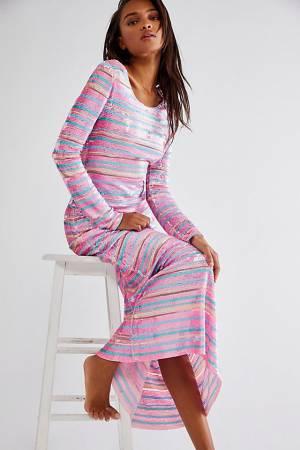 """LoveShackFancy Sequin Stripe Maxi Dress """"Avalyn"""""""