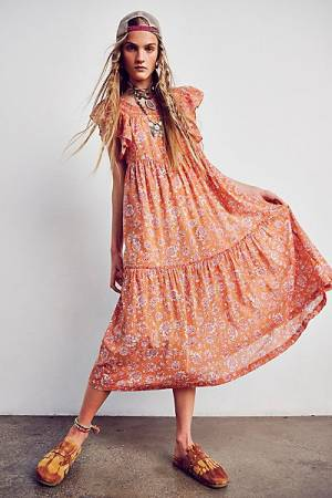 "Free People Midi Dress ""Bohemian Bonita"""