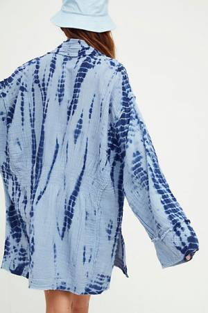 "Free People Jacket ""Ivy Indigo Tie-Dye Duster"""