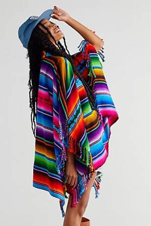 "Kamino Katalina Stripe Poncho ""Rainbow Playa"""