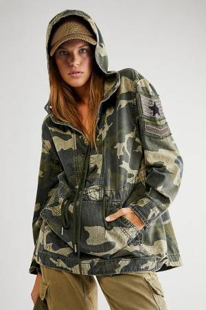 """Free People Camouflage Hoodie Pullover """"Military Ember"""""""
