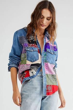 Tricia Fix Patchwork Denim Shirt