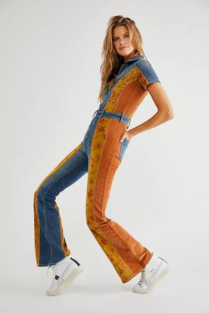 """Free People Patched Jumpsuit """"Hometown Retro Coveralls"""""""