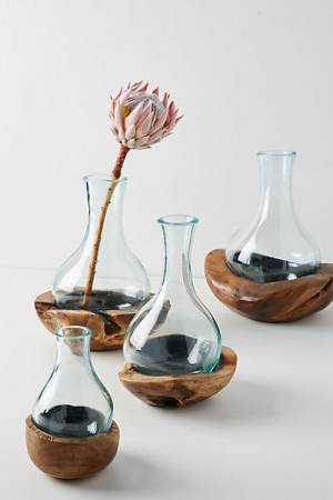 Teak & Bottle Bud Vase