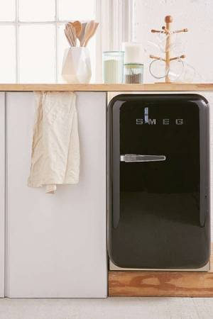 SMEG Mini Refrigerator Black Compact Retro Style Fridge