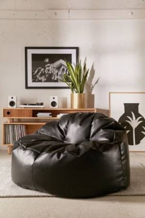 Holden Oversized Black Leather Lounge Chair
