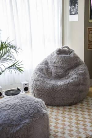 Aspyn Faux Fur Shag Grey Lounge Bean Bag Chair
