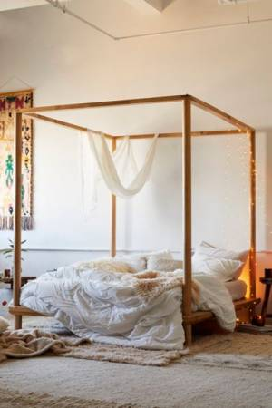 "Wooden Canopy Bed ""Rustic Boho"""