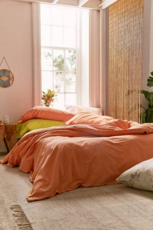 Washed Cotton Peach Duvet Cover