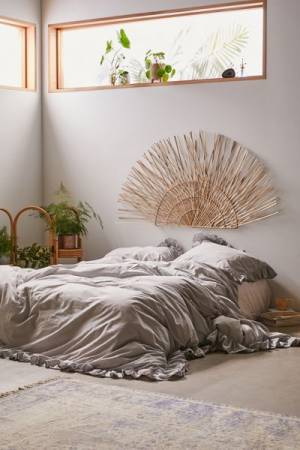 Woven Bamboo Fan Headboard