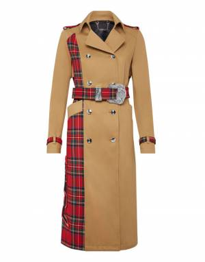 "Philipp Plein Women's Trench Coat ""TARTAN"""