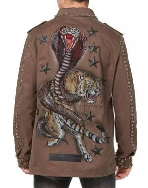 Philipp Plein Parka Military Jacket Koro Cobra Tiger Fashion Show