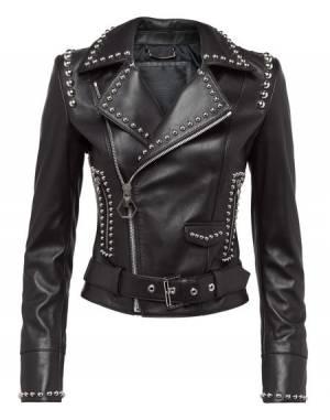 """Philipp Plein Leather Jacket """"BROOKE ESTRADA"""" Studded Biker"""