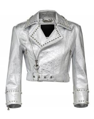 "Philipp Plein ""NEW MIND STYLE"" Cropped Leather Biker Jacket"