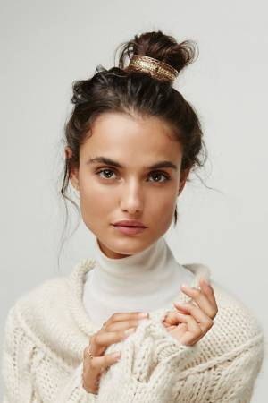 Free People Engraved Gold Hair Bun Cuff
