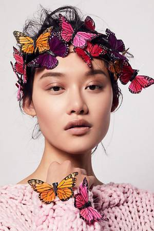 Wild & Free Jewelry for Free People Meadow Monarch Crown Set Pink Combo Butterflies