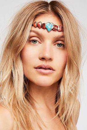 "Ouroboros Stone Halo ""Lilia"" Boho Turquoise Headband"