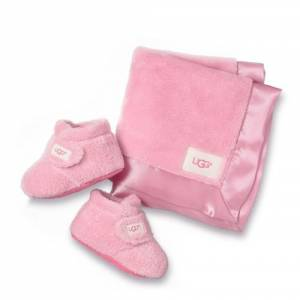 UGG Infants' Bixbee Bootie And Lovey Blanket Leather