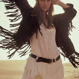"Free People Fringe Jacket ""The Lucky Ones"""