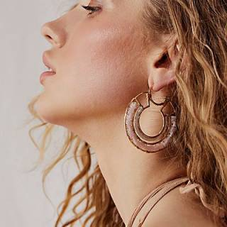 """Free People Hoop Earrings """"Beyond Beaded"""""""