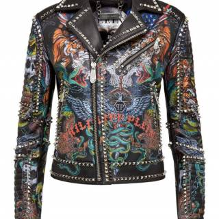 "Philipp Plein Women's Leather Jacket ""Biker Tattoo"""