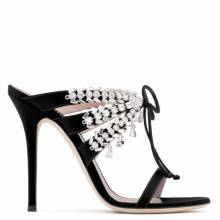 Giuseppe Zanotti MADELYN Black Sandals With Crystals