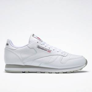 Reebok Men's Classic Leather Lifestyle Shoes in White / Grey