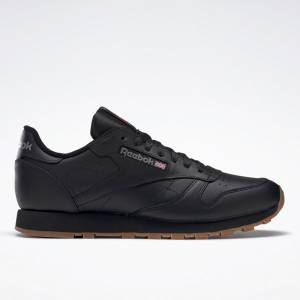 Reebok Men's Classic Leather Lifestyle Shoes in Black / Gum