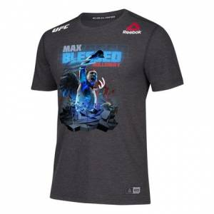 Reebok UFC Jersey Legacy Series UFC 218 MAX BLESSED Men's MMA T-Shirt in Black / Gravel
