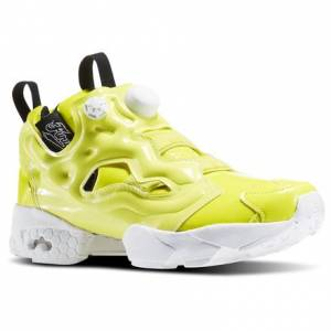 Reebok InstaPump Fury Overbranded Women's Retro Running Shoes in Hero Yellow / White / Black