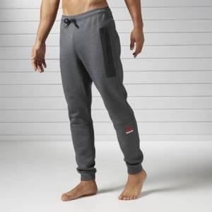 Reebok Quik Cotton Jogger Men's Fitness Training Pants in Dark Grey Heather