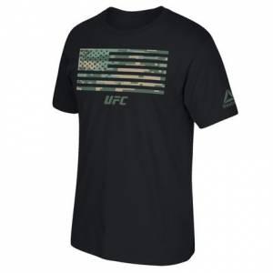 Reebok UFC Ultimate Fan Digital Camo Flag Tee Men's MMA T-Shirt in Black