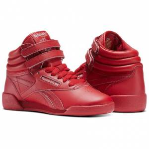 Reebok Freestyle Hi - Children Fitness Shoes in Excellent Red / Silver / Gold