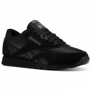Reebok Classic Nylon Men's Retro Running Shoes in Black / Carbon