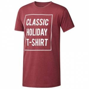 Reebok Classics Holiday Unisex Casual T-Shirt in Cardinal Red