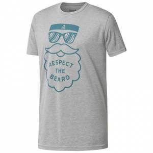Reebok Respect the Beard Unisex Casual T-Shirt in Heather Grey