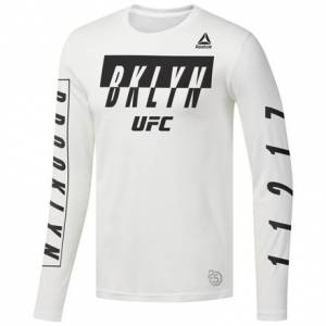 Reebok UFC 223 Brooklyn Weigh-In Men's MMA Long Sleeve Tee in White / Black