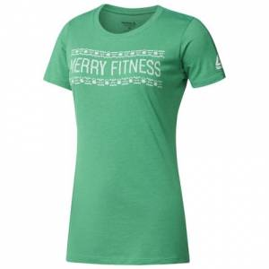 Reebok Merry Fitness Unisex Casual T-Shirt in Kelly Green