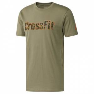 Reebok CrossFit Splash Camo Men's Tee Training in Light Olive