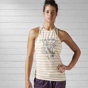 Reebok Yoga Striped Tank Top Women's Studio, Yoga Apparel in Chalk