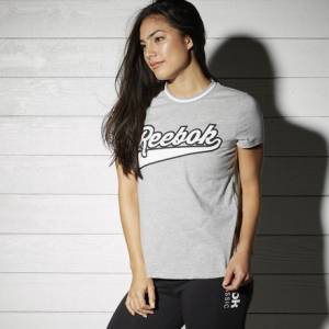 Reebok Varsity Graphic Tee Women's Casual T-Shirt in Medium Grey Heather