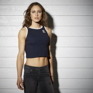 Reebok Rib Tank Top Women's Casual Cropped Top in Faux Indigo