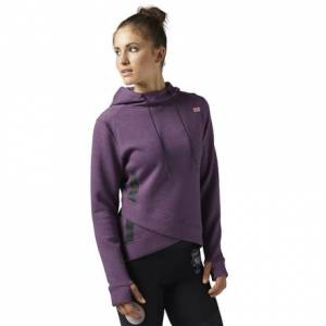 Reebok CrossFit Hoodie Women's Fitness Training Pullover in Washed Plum