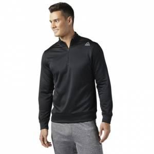 Reebok Workout Ready 1/4 Zip Sweatshirt Men's Fitness Training Apparel in Black