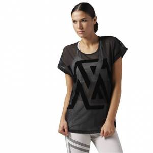 Reebok ACTIVCHILL Mesh Tee Women's Studio T-Shirt in Black