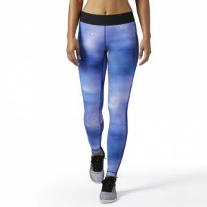 Reebok Legging - Techspiration Print Women's Fitness Training Tights in Deep Cobalt
