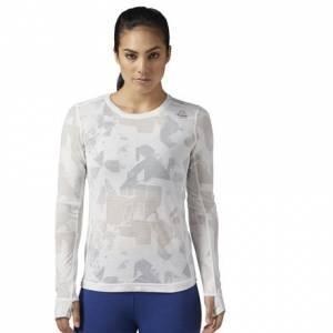 Reebok Burnout Long Sleeve Shirt Women's Fitness Training Apparel in Chalk