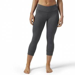 Reebok Lux 3/4 Tight Women's Fitness Training Capri Leggings in Dark Grey Heather